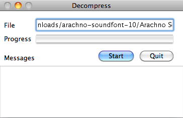 sfArk decompression process on Mac OS X
