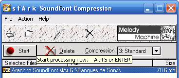 sfArk decompression process on Windows