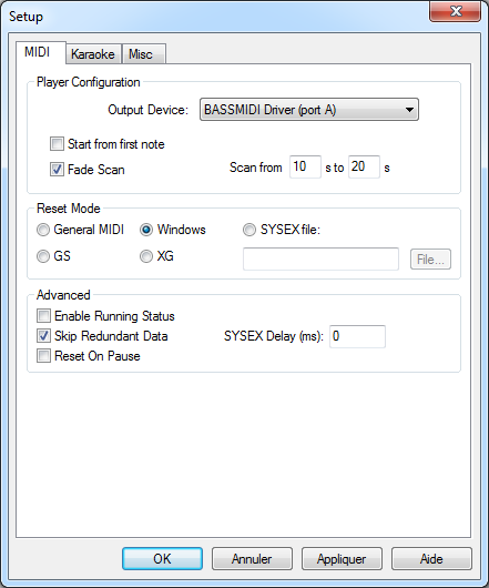 Some guidelines to use BASSMIDI Driver